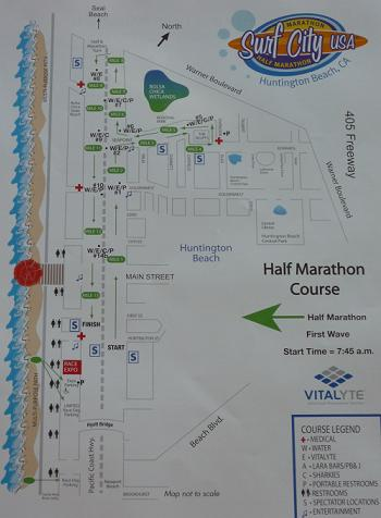 Surf City Half Marathon Race Map